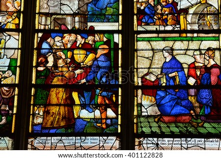Les Andelys, France - august 10 2015 : stained glass window of the collegiate church build in de 1225