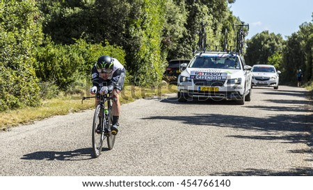 LES AREDONS, FRANCE - JUL 15: The Manx cyclist Mark Cavendish of Dimension Data Team riding during an individual time trial stage in Ardeche Gorges during Tour de France 2016.
