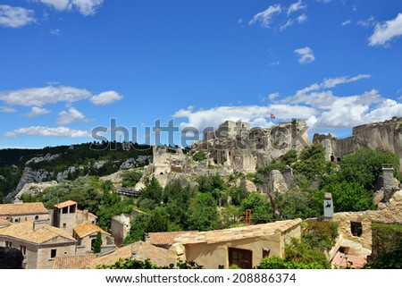 Les Baux de Provence village on the rock formation and its castle. France, Europe.  - stock photo