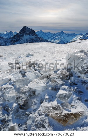 "Les Deux Alpes - The view from Glacier ""Le dôme sud"" 3400 m. - stock photo"