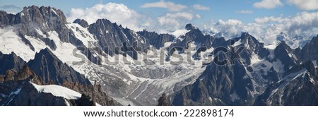 Les Droites, Aiguille du Triolet and Glacier and Aiguille de Talefre in the French Alps. - stock photo