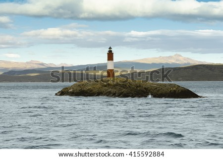 Les Eclavireurs Lighthouse, Beagle Channel, Tierra del Fuego, southern Argentina - stock photo