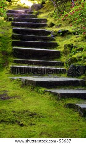 Les Escaliers japonais de Jardin - stock photo