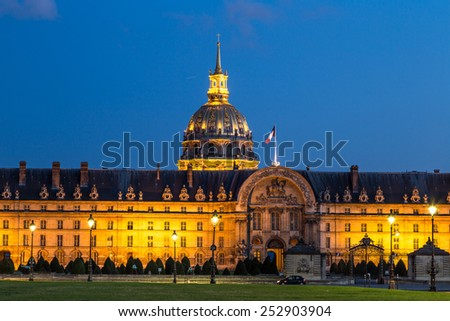Les Invalides at summer night in Paris, France - stock photo