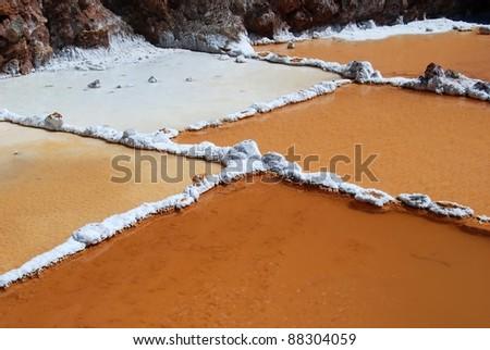 Les Salines de Maras salt in Peru - stock photo
