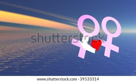 Lesbian couple holding red heart over the sea - stock photo
