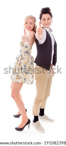 Lesbian couple showing thumbs up sign - stock photo