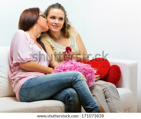 Lesbian couple / Two beautiful young women on valentine's day