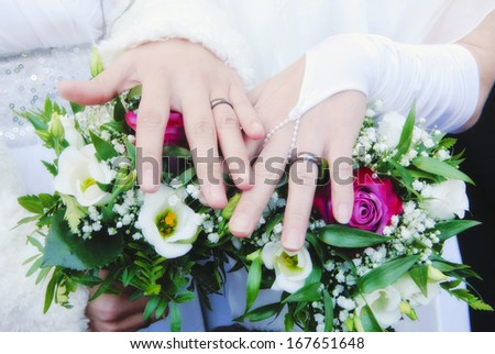 Lesbian Wedding - Newlywed Women Showing their Rings - stock photo