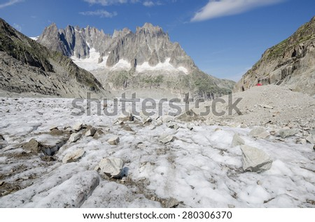 Leschaux glacier and mountains landscape in the french Alps - stock photo