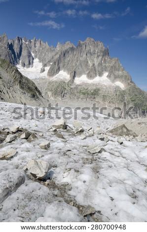 Leschaux glacier landscape in the french Alps - stock photo