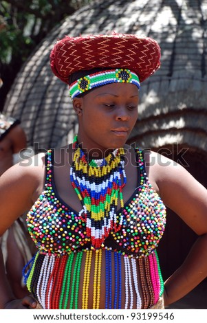 VILLAGE  SOUTH AFRICA - JAN 1  Zulu woman wearing handmade clothing    Zulu Culture Clothing