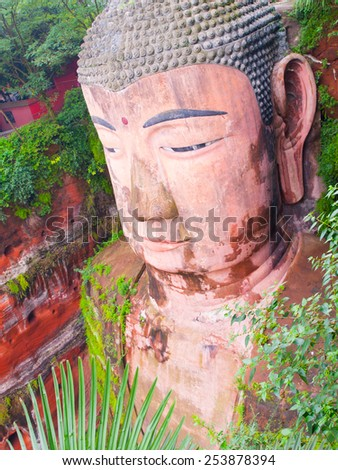 Leshan Giant Buddha, Dafo, UNESCO World Heritage site, Le Shan City, Sichuan, China - stock photo