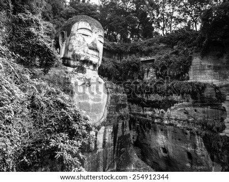 Leshan Giant Buddha, Dafo, UNESCO World Heritage site, Le Shan City, Sichuan, China, in black and white - stock photo