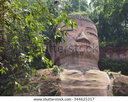 Leshan Grand Giant Buddha statue in Sichuan province China