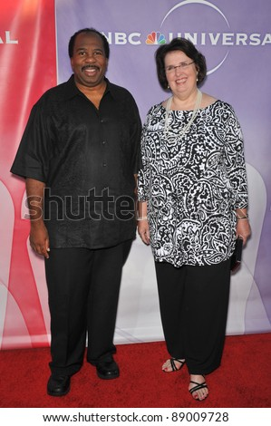 "Leslie David Baker & Phyllis Smith - stars of ""The Office"" - at NBC Universal TV Summer Press Tour Party in Beverly Hills.  July 30, 2010  Los Angeles, CA Picture: Paul Smith / Featureflash - stock photo"