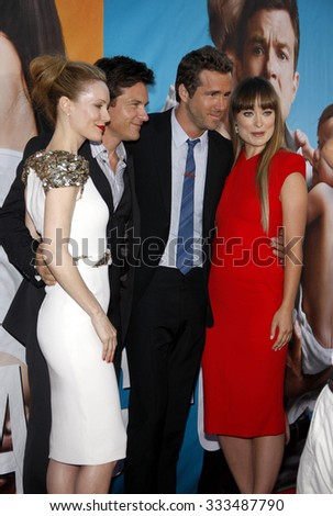 """Leslie Mann, Jason Bateman, Olivia Wilde and Ryan Reynolds at the Los Angeles Premiere of """"The Change-Up"""" held at the Mann Village Theater in Los Angeles, California, United States on August 1, 2011.  - stock photo"""