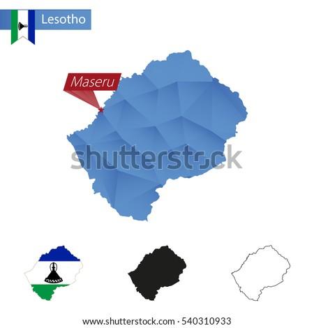 Lesotho Blue Low Poly Map Capital Stock Illustration - maseru map