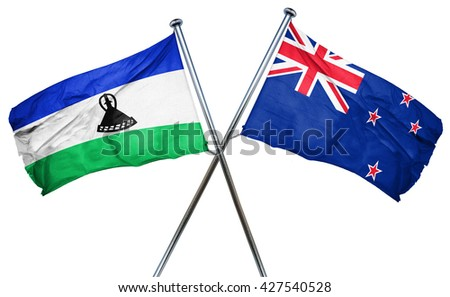 Lesotho flag  combined with new zealand flag