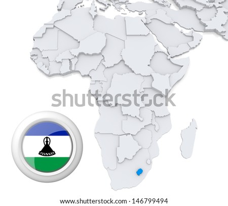 Lesotho with national flag - stock photo