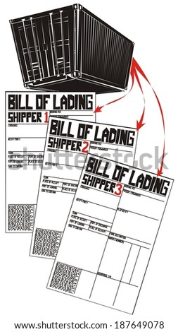 Less than container load (LCL) shipment in six illustrations (part 3) - cargo in single container is splitted into three different part load bills of lading - stock photo