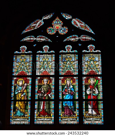 LESSINES, BELGIUM-JANUARY 11, 2015: Stained glass window in Saint Hermes church. Current building is known from 15 century - stock photo