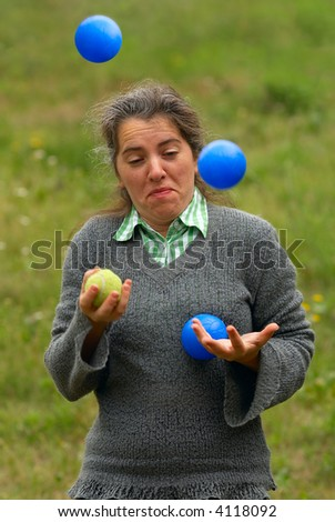 Lesson of juggling... It never will learn... - stock photo