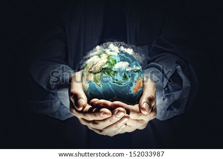 Let's save our planet earth. Ecology concept. Elements of this image are furnished by NASA