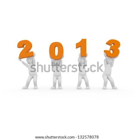Let the year 2013 celebrate. Here is the rule: all have fun - stock photo