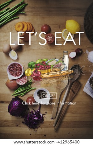 Lets Eat Dinner Eating Dining Food Nutrition Concept - stock photo