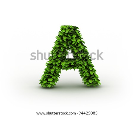 Letter A , alphabet of green leaves isolated on white background