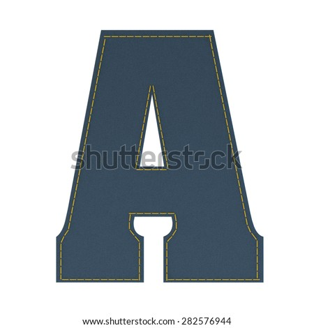 letter A from denim - jeans, on a white background, high specification of fabric, it is stitched by the yellow high-detailed threads - stock photo