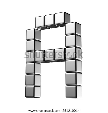 Letter A from digital cube middle perspective alphabet. There is a clipping path - stock photo