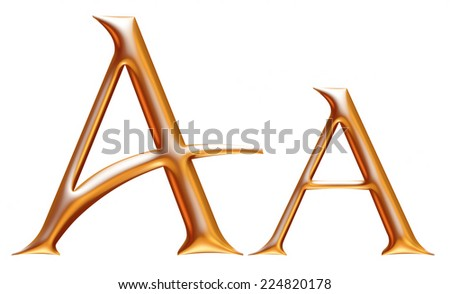 Letter A from gold solid alphabet.