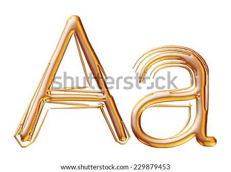 Letter A from gold solid alphabet on isolated white.