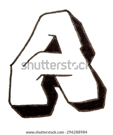 Letter A, hand drawn alphabet in graffiti style with a black fiber tip pen - stock photo