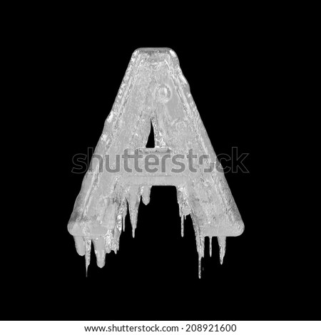 Letter A. Ice font isolated on black background. Alphabet. - stock photo