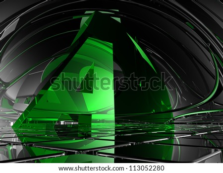 letter a in abstract futuristic space - 3d illustration