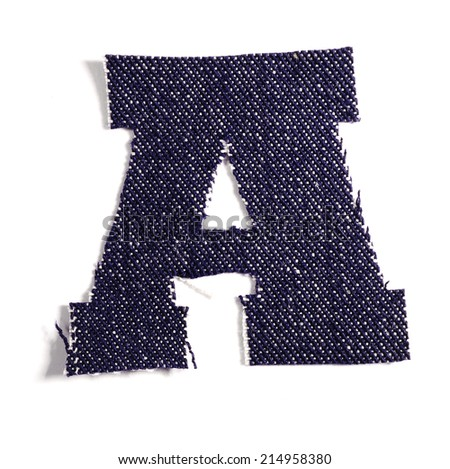 Letter A. Jeans alphabet Isolated on White. Handmade font. - stock photo