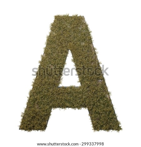 Letter A made of dead grass, growing on wood with metal frame - stock photo