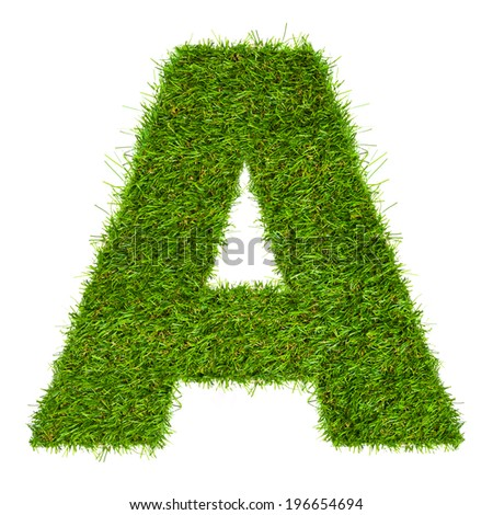 Letter A made of green grass isolated on white - stock photo