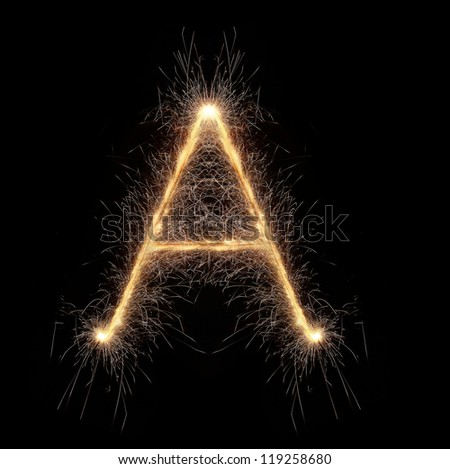 Letter A made of sparkler - stock photo