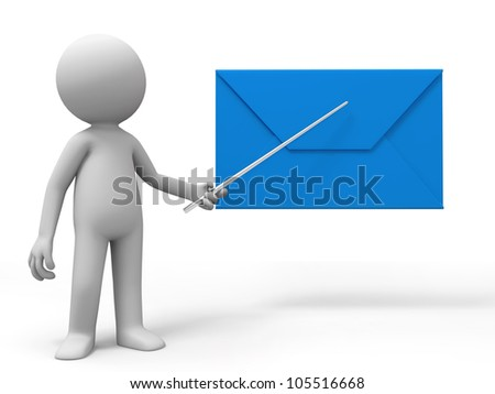 Letter/A man is explaining the letter - stock photo