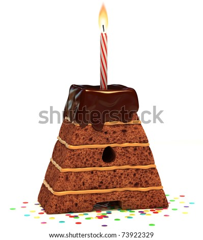 "letter ""A"" shaped chocolate birthday cake with lit candle and confetti isolated over white background"