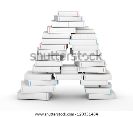 Letter A, stacked from many blank title books in column - stock photo