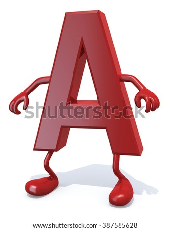 letter A with arms and legs posing, isolated on white 3d illustration - stock photo