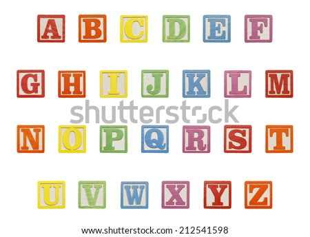 Letter ABC Wood Blocks Isolated on White Background. - stock photo