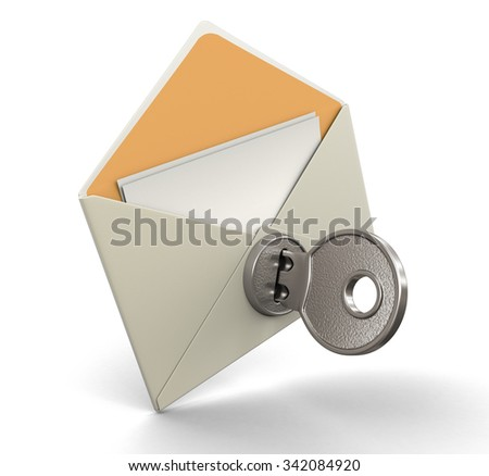 Letter and lock (clipping path included)