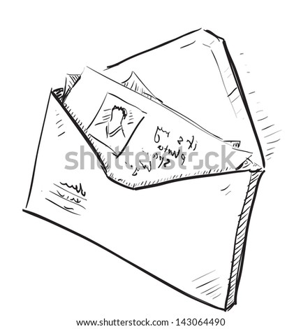 Letter and photos in envelope cartoon icon - stock photo