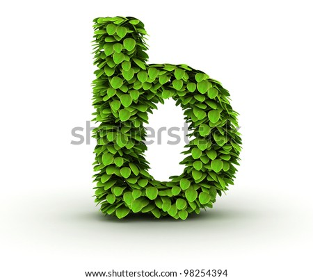 Letter  b, alphabet of green leaves, small caps - stock photo